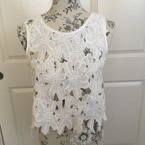 White Crochet Crop Sleeveless Top